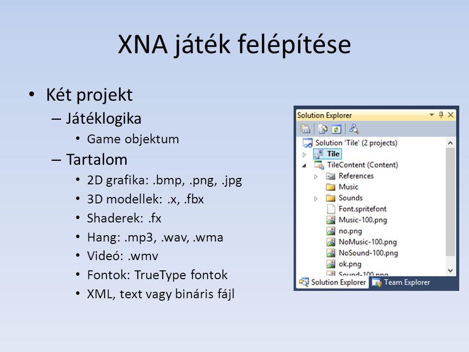 XNA játék felépítése Két projekt – Játéklogika Game objektum – Tartalom 2D grafika:.bmp,.png,.jpg 3D modellek:.x,.fbx Shaderek:.fx Hang:.mp3,.wav,.wma Videó:.wmv Fontok: TrueType fontok XML, text vagy bináris fájl