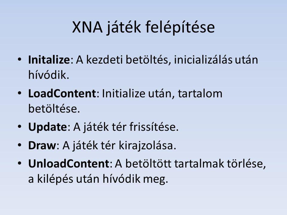 XNA játék felépítése Initalize: A kezdeti betöltés, inicializálás után hívódik.