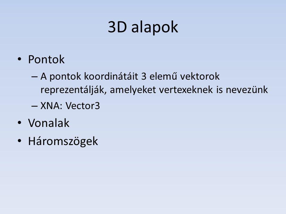 3D alapok Pontok – A pontok koordinátáit 3 elemű vektorok reprezentálják, amelyeket vertexeknek is nevezünk – XNA: Vector3 Vonalak Háromszögek