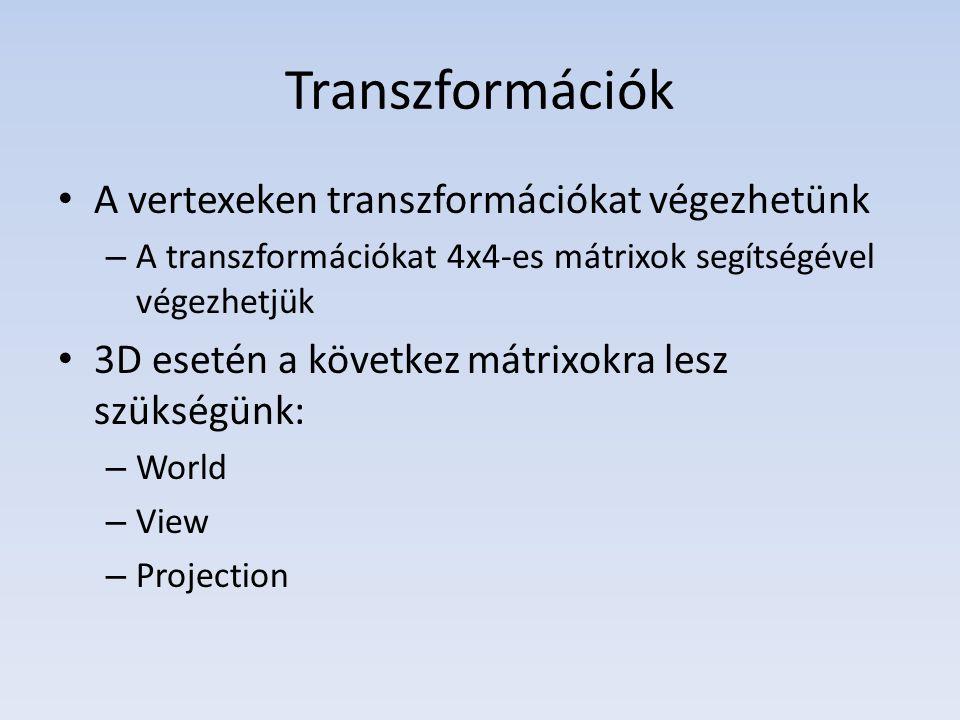 Transzformációk A vertexeken transzformációkat végezhetünk – A transzformációkat 4x4-es mátrixok segítségével végezhetjük 3D esetén a következ mátrixokra lesz szükségünk: – World – View – Projection