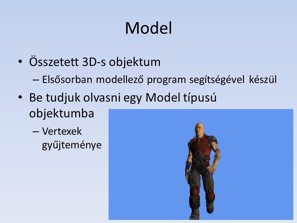 Model Összetett 3D-s objektum – Elsősorban modellező program segítségével készül Be tudjuk olvasni egy Model típusú objektumba – Vertexek gyűjteménye