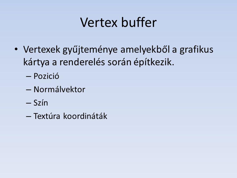 Vertex buffer Vertexek gyűjteménye amelyekből a grafikus kártya a renderelés során építkezik.