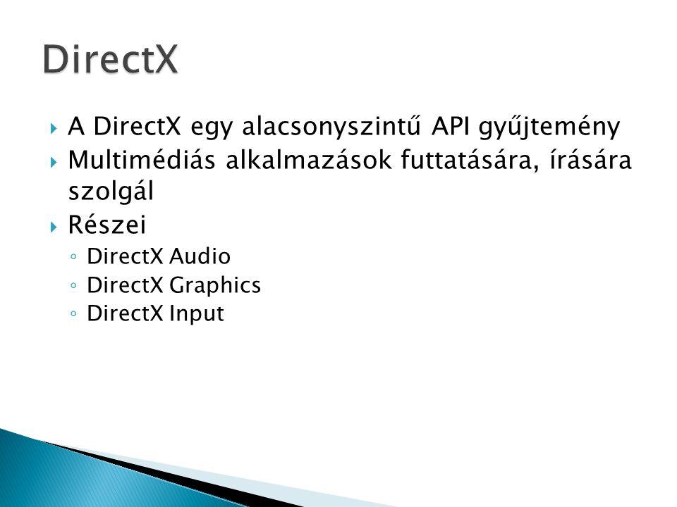  A DirectX egy alacsonyszintű API gyűjtemény  Multimédiás alkalmazások futtatására, írására szolgál  Részei ◦ DirectX Audio ◦ DirectX Graphics ◦ DirectX Input