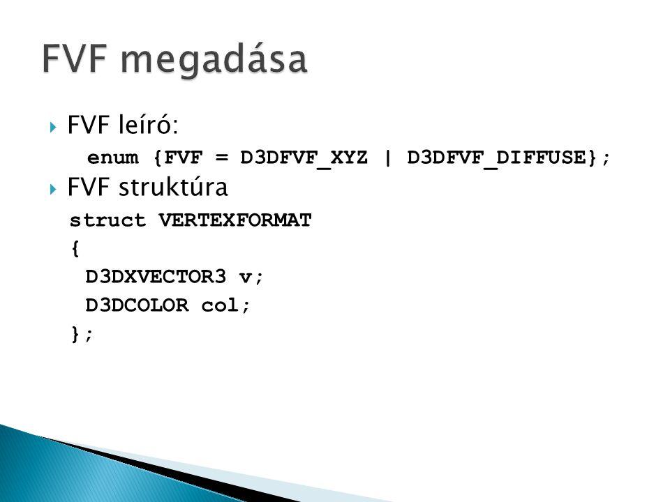  FVF leíró: enum {FVF = D3DFVF_XYZ | D3DFVF_DIFFUSE};  FVF struktúra struct VERTEXFORMAT { D3DXVECTOR3 v; D3DCOLOR col; };
