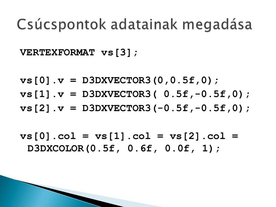 VERTEXFORMAT vs[3]; vs[0].v = D3DXVECTOR3(0,0.5f,0); vs[1].v = D3DXVECTOR3( 0.5f,-0.5f,0); vs[2].v = D3DXVECTOR3(-0.5f,-0.5f,0); vs[0].col = vs[1].col = vs[2].col = D3DXCOLOR(0.5f, 0.6f, 0.0f, 1);
