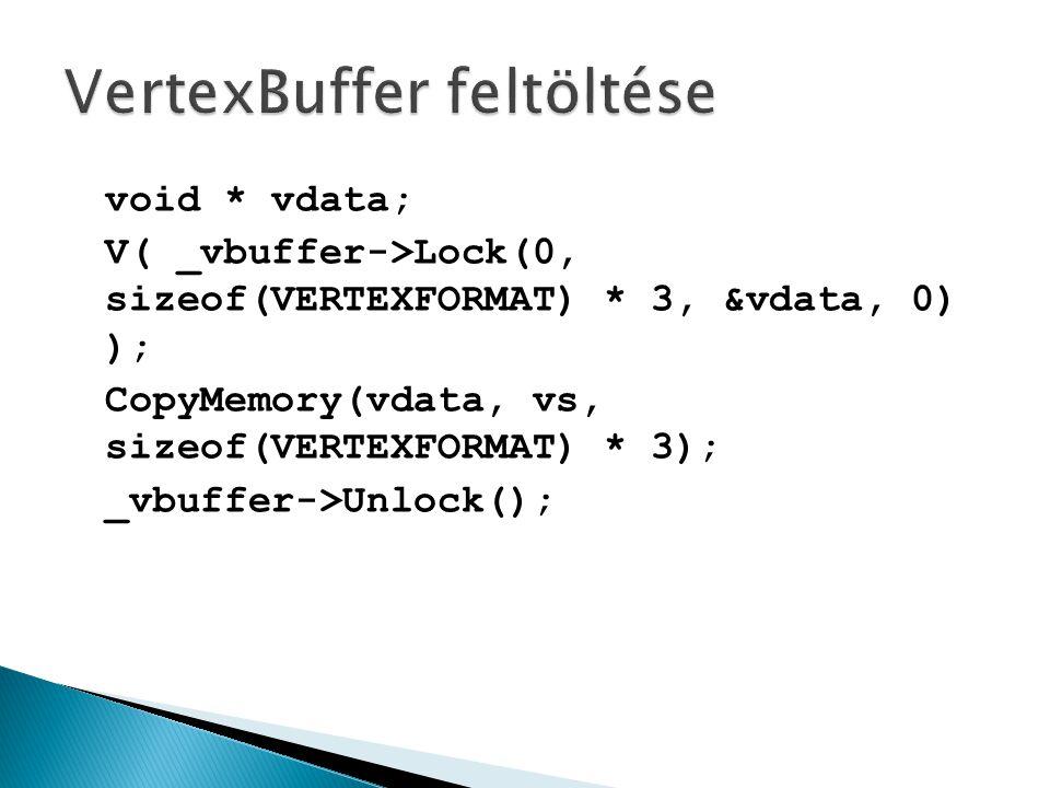 void * vdata; V( _vbuffer->Lock(0, sizeof(VERTEXFORMAT) * 3, &vdata, 0) ); CopyMemory(vdata, vs, sizeof(VERTEXFORMAT) * 3); _vbuffer->Unlock();