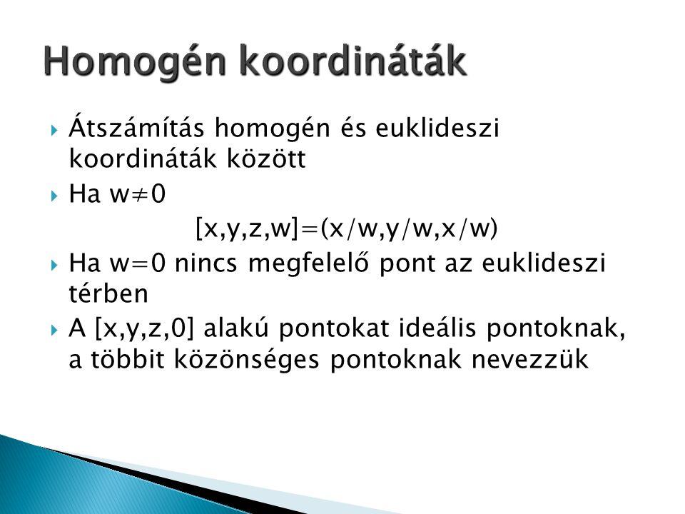  Átszámítás homogén és euklideszi koordináták között  Ha w≠0 [x,y,z,w]=(x/w,y/w,x/w)  Ha w=0 nincs megfelelő pont az euklideszi térben  A [x,y,z,0] alakú pontokat ideális pontoknak, a többit közönséges pontoknak nevezzük