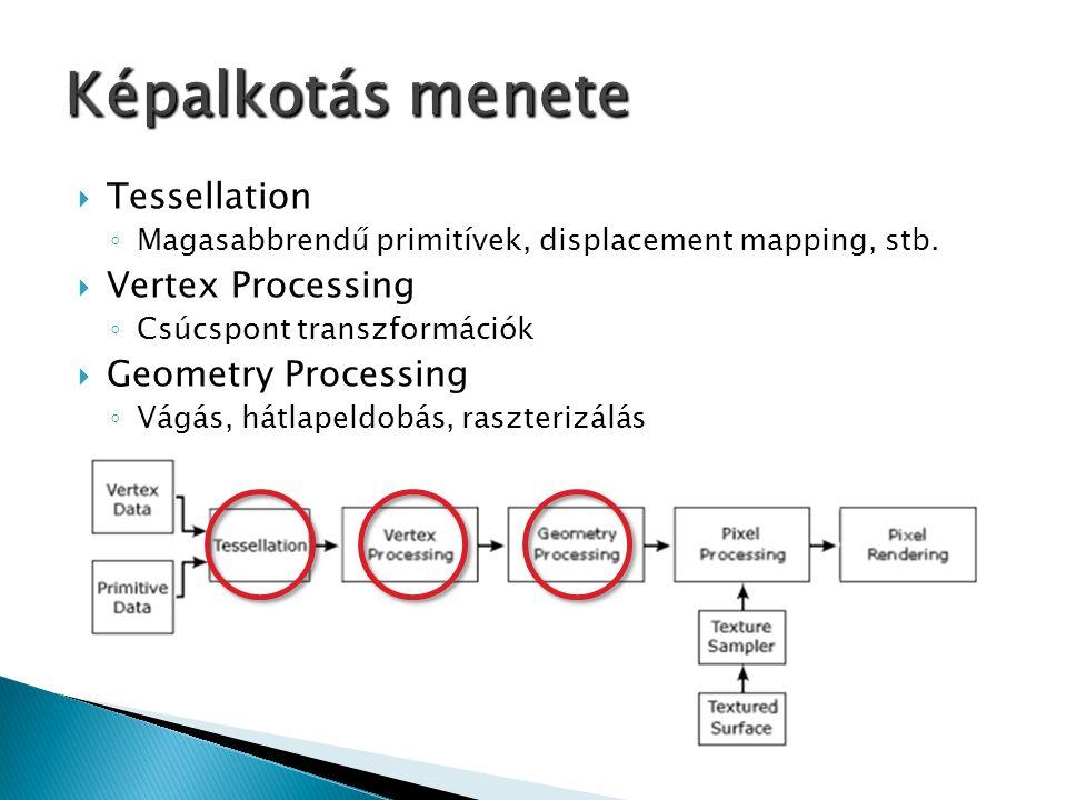  Tessellation ◦ Magasabbrendű primitívek, displacement mapping, stb.  Vertex Processing ◦ Csúcspont transzformációk  Geometry Processing ◦ Vágás, h
