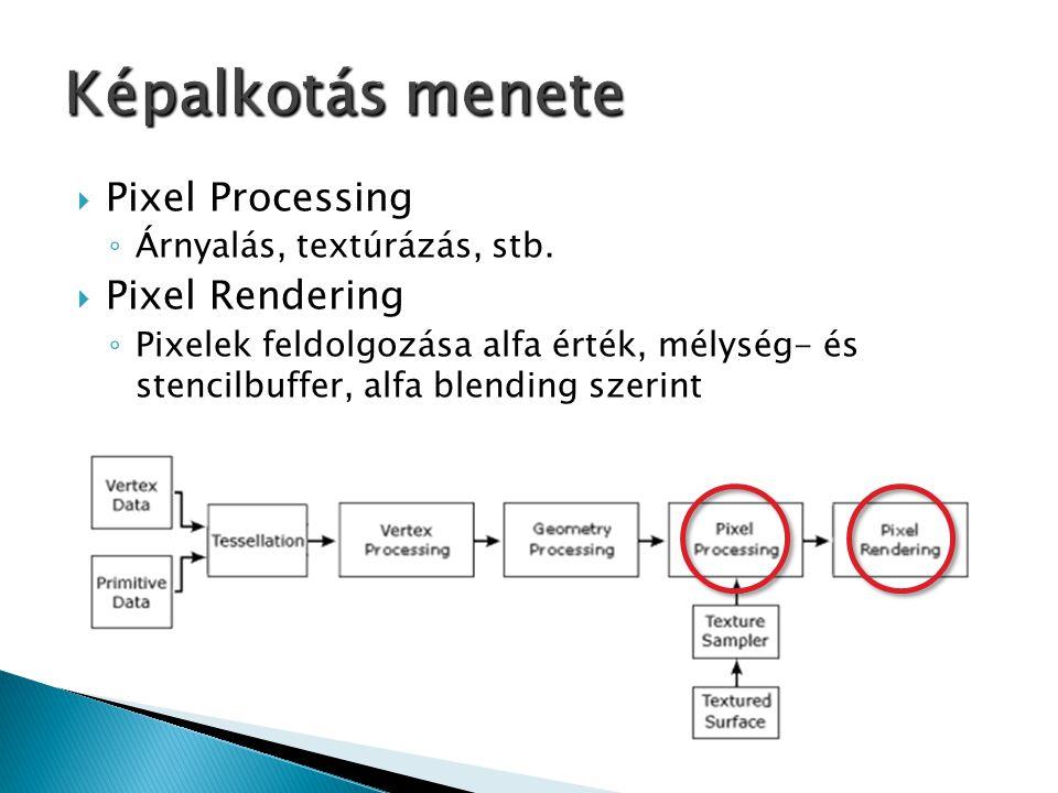  Pixel Processing ◦ Árnyalás, textúrázás, stb.  Pixel Rendering ◦ Pixelek feldolgozása alfa érték, mélység- és stencilbuffer, alfa blending szerint