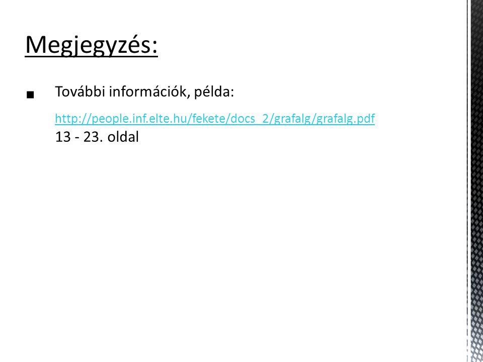 Megjegyzés:  További információk, példa: http://people.inf.elte.hu/fekete/docs_2/grafalg/grafalg.pdf 13 - 23. oldal http://people.inf.elte.hu/fekete/