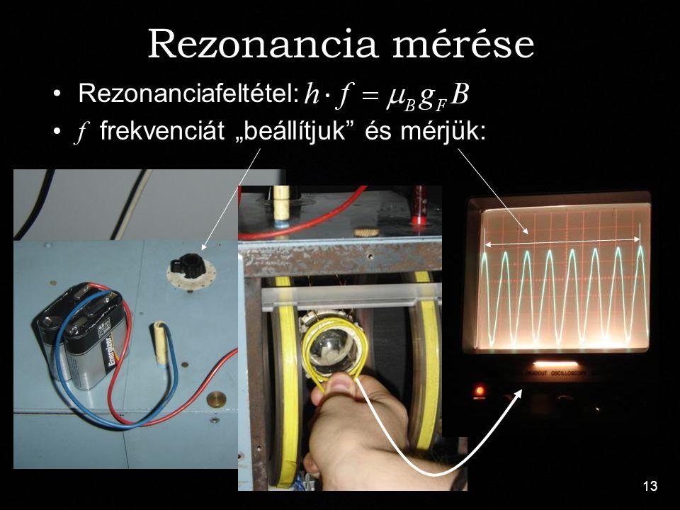 """13 Rezonanciafeltétel: Rezonancia mérése f frekvenciát """"beállítjuk"""" és mérjük:"""