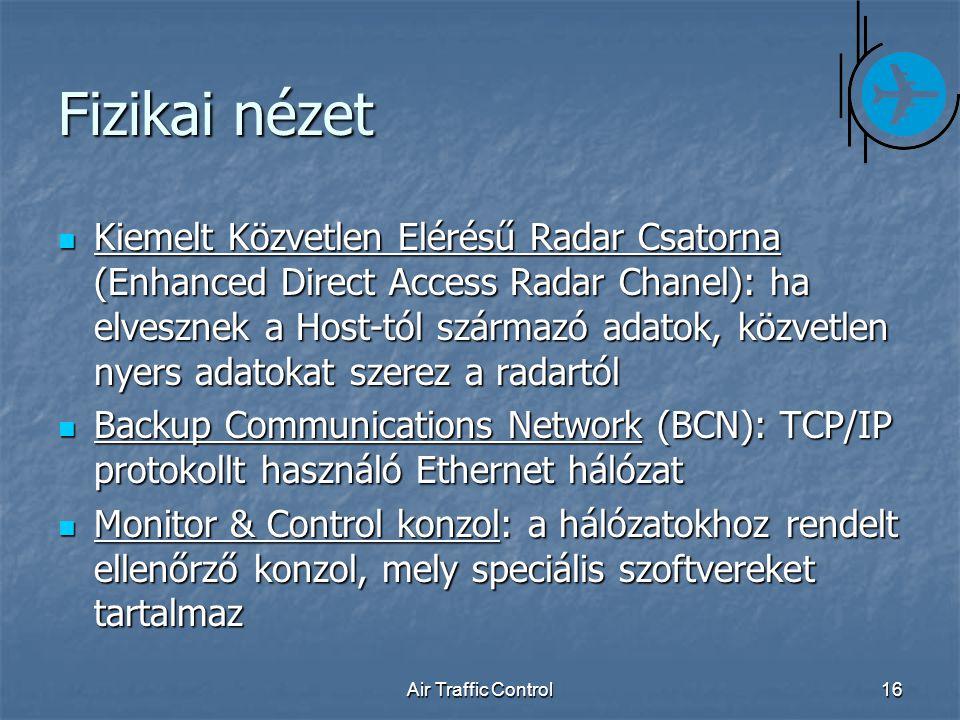 Air Traffic Control16 Fizikai nézet Kiemelt Közvetlen Elérésű Radar Csatorna (Enhanced Direct Access Radar Chanel): ha elvesznek a Host-tól származó adatok, közvetlen nyers adatokat szerez a radartól Kiemelt Közvetlen Elérésű Radar Csatorna (Enhanced Direct Access Radar Chanel): ha elvesznek a Host-tól származó adatok, közvetlen nyers adatokat szerez a radartól Backup Communications Network (BCN): TCP/IP protokollt használó Ethernet hálózat Backup Communications Network (BCN): TCP/IP protokollt használó Ethernet hálózat Monitor & Control konzol: a hálózatokhoz rendelt ellenőrző konzol, mely speciális szoftvereket tartalmaz Monitor & Control konzol: a hálózatokhoz rendelt ellenőrző konzol, mely speciális szoftvereket tartalmaz