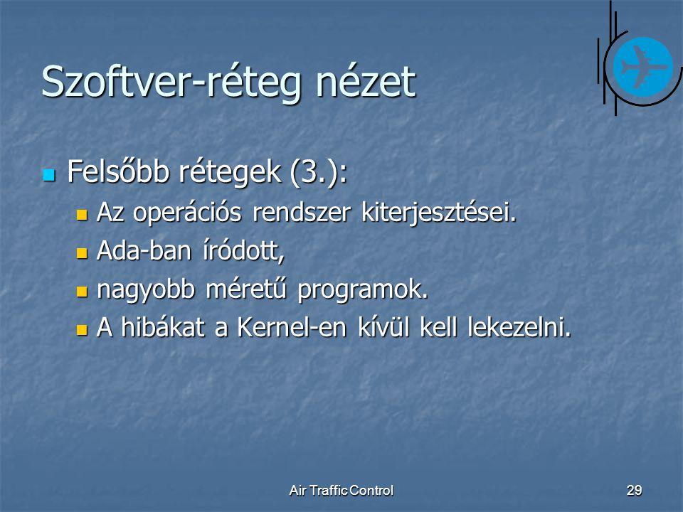Air Traffic Control29 Szoftver-réteg nézet Felsőbb rétegek (3.): Felsőbb rétegek (3.): Az operációs rendszer kiterjesztései.