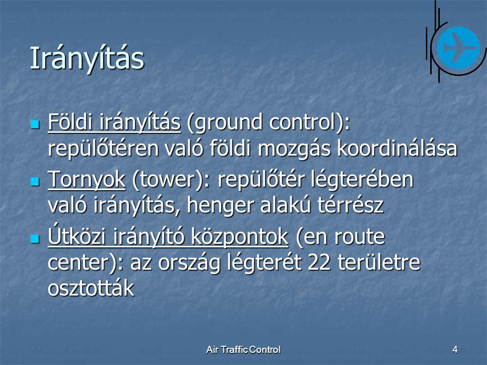 Air Traffic Control4 Irányítás Földi irányítás (ground control): repülőtéren való földi mozgás koordinálása Földi irányítás (ground control): repülőtéren való földi mozgás koordinálása Tornyok (tower): repülőtér légterében való irányítás, henger alakú térrész Tornyok (tower): repülőtér légterében való irányítás, henger alakú térrész Útközi irányító központok (en route center): az ország légterét 22 területre osztották Útközi irányító központok (en route center): az ország légterét 22 területre osztották