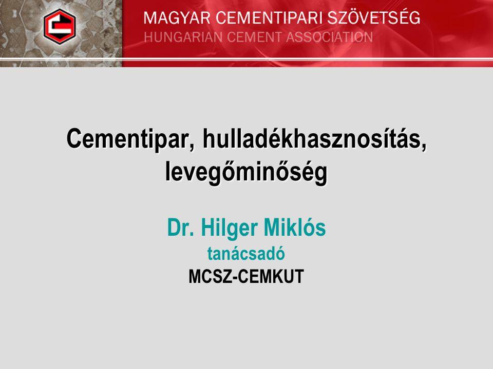 Cementipar, hulladékhasznosítás, levegőminőség Dr. Hilger Miklós tanácsadó MCSZ-CEMKUT