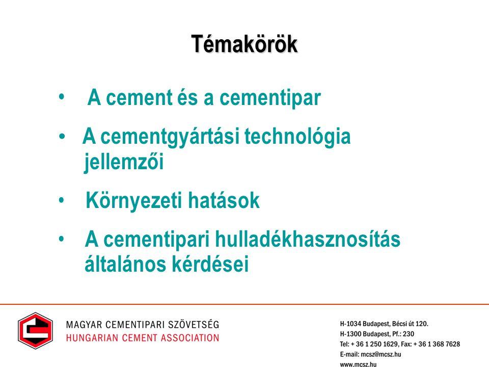Témakörök A cement és a cementipar A cementgyártási technológia jellemzői Környezeti hatások A cementipari hulladékhasznosítás általános kérdései