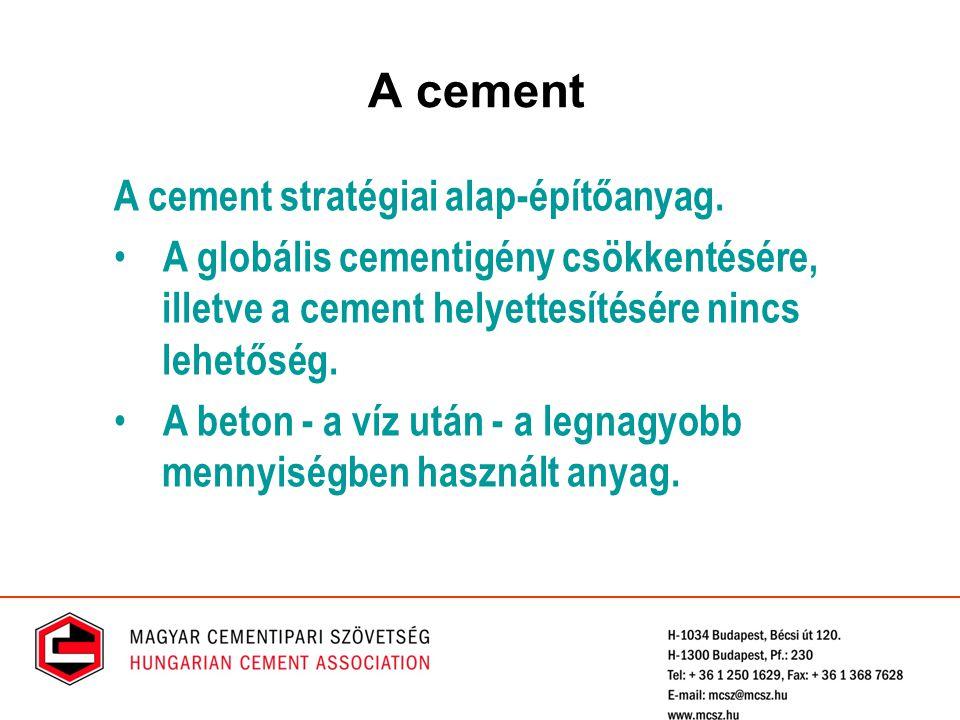 A cement stratégiai alap-építőanyag. A globális cementigény csökkentésére, illetve a cement helyettesítésére nincs lehetőség. A beton - a víz után - a