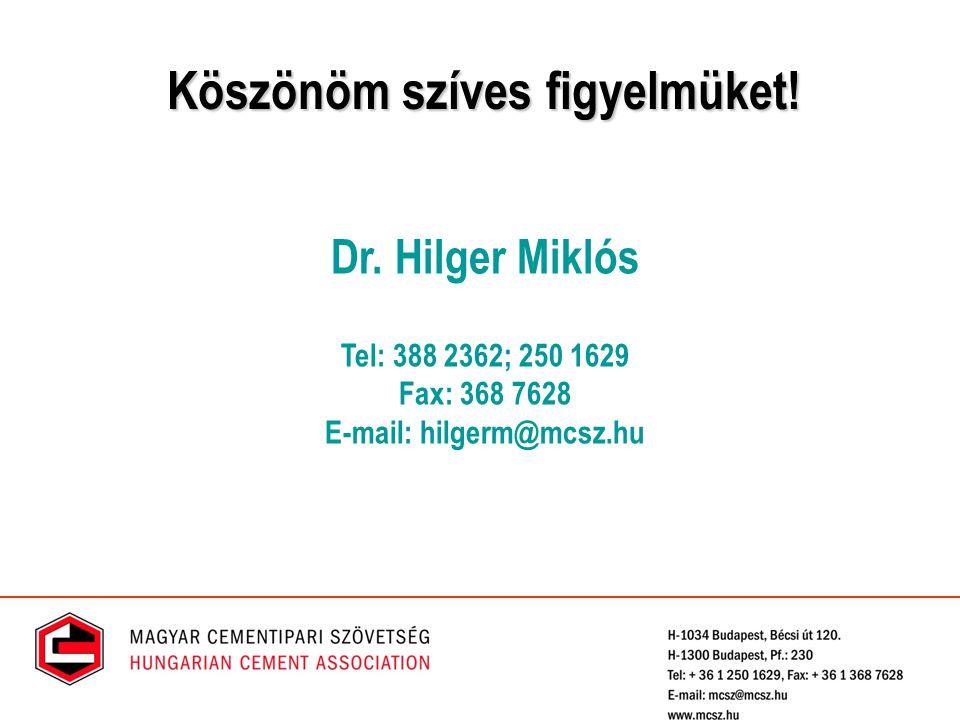 Dr. Hilger Miklós Tel: 388 2362; 250 1629 Fax: 368 7628 E-mail: hilgerm@mcsz.hu Köszönöm szíves figyelmüket!