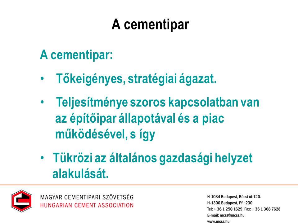 A cementipar A cementipar: Tőkeigényes, stratégiai ágazat. Teljesítménye szoros kapcsolatban van az építőipar állapotával és a piac működésével, s így