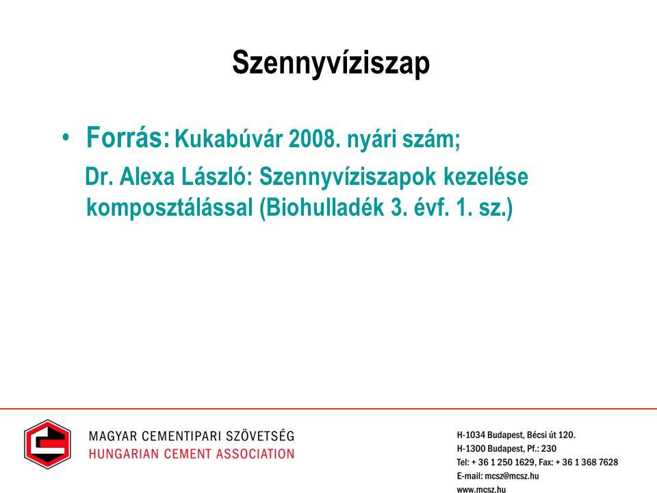 Szennyvíziszap Forrás: Kukabúvár 2008. nyári szám; Dr. Alexa László: Szennyvíziszapok kezelése komposztálással (Biohulladék 3. évf. 1. sz.)
