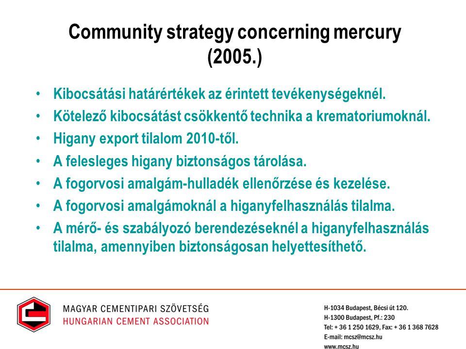Community strategy concerning mercury (2005.) Kibocsátási határértékek az érintett tevékenységeknél. Kötelező kibocsátást csökkentő technika a kremato
