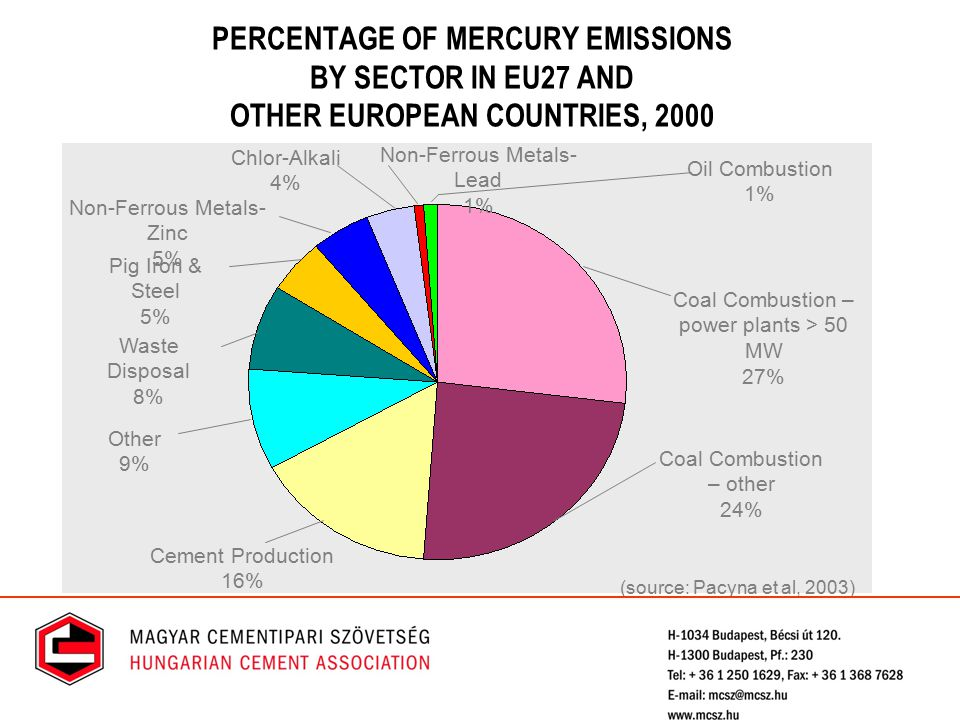 PERCENTAGE OF MERCURY EMISSIONS BY SECTOR IN EU27 AND OTHER EUROPEAN COUNTRIES, 2000 Cement Production 16% Coal Combustion – other 24% Coal Combustion – power plants > 50 MW 27% Other 9% Waste Disposal 8% Pig Iron & Steel 5% Non-Ferrous Metals- Zinc 5% Oil Combustion 1% Non-Ferrous Metals- Lead 1% Chlor-Alkali 4% (source: Pacyna et al, 2003)