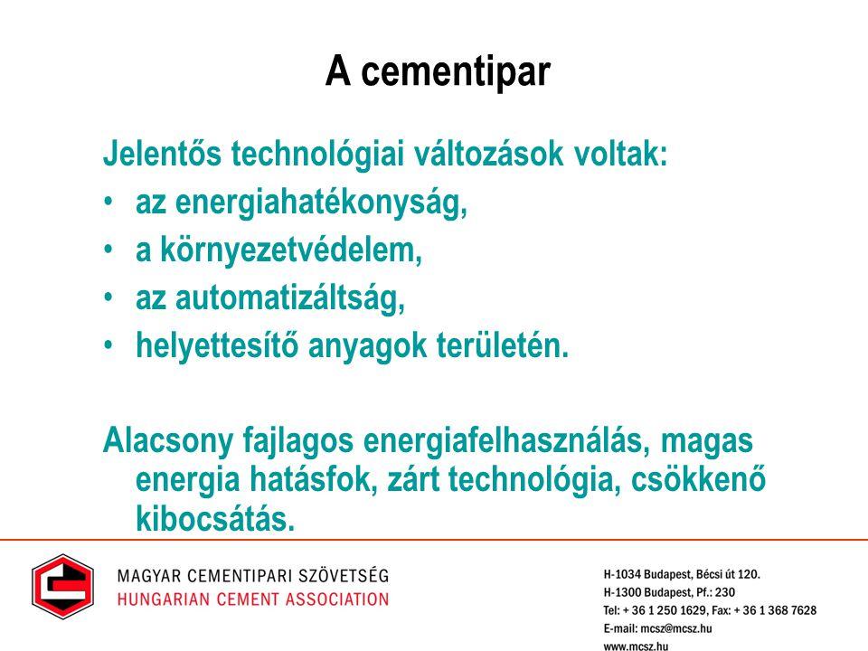 Környezeti hatások a cementgyártás során Por Gázhalmazállapotú emisszió (NO x, SO 2, CO 2, TOC, nehézfémek, egyéb) Egyéb emissziók (zaj és vibráció, szag) Erőforrás-felhasználás (energia, nyersanyagok)