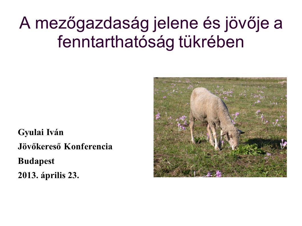 A mezőgazdaság jelene és jövője a fenntarthatóság tükrében Gyulai Iván Jövőkereső Konferencia Budapest 2013. április 23.