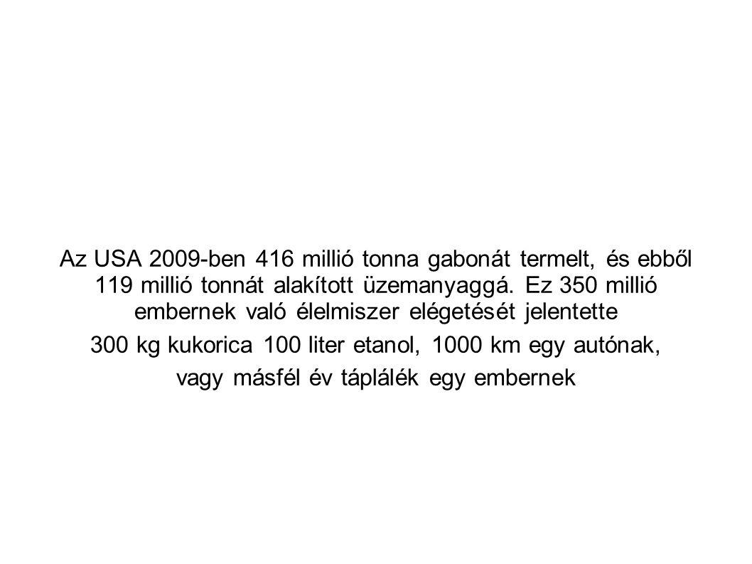 Az USA 2009-ben 416 millió tonna gabonát termelt, és ebből 119 millió tonnát alakított üzemanyaggá. Ez 350 millió embernek való élelmiszer elégetését