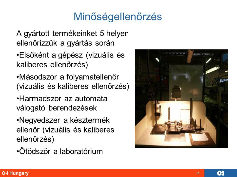 O-I Hungary 10 Minőségellenőrzés A gyártott termékeinket 5 helyen ellenőrizzük a gyártás során Elsőként a gépész (vizuális és kaliberes ellenőrzés) Má