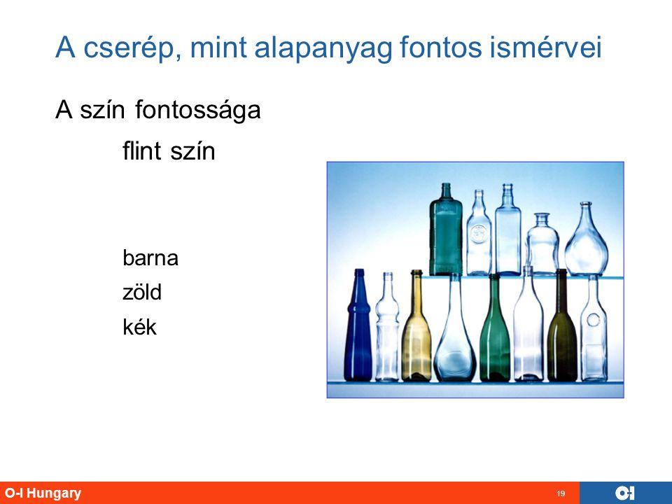 O-I Hungary 19 A cserép, mint alapanyag fontos ismérvei A szín fontossága flint szín barna zöld kék
