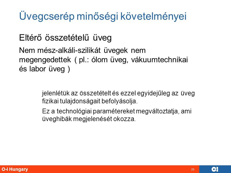 O-I Hungary 23 Üvegcserép minőségi követelményei Eltérő összetételű üveg Nem mész-alkáli-szilikát üvegek nem megengedettek ( pl.: ólom üveg, vákuumtec
