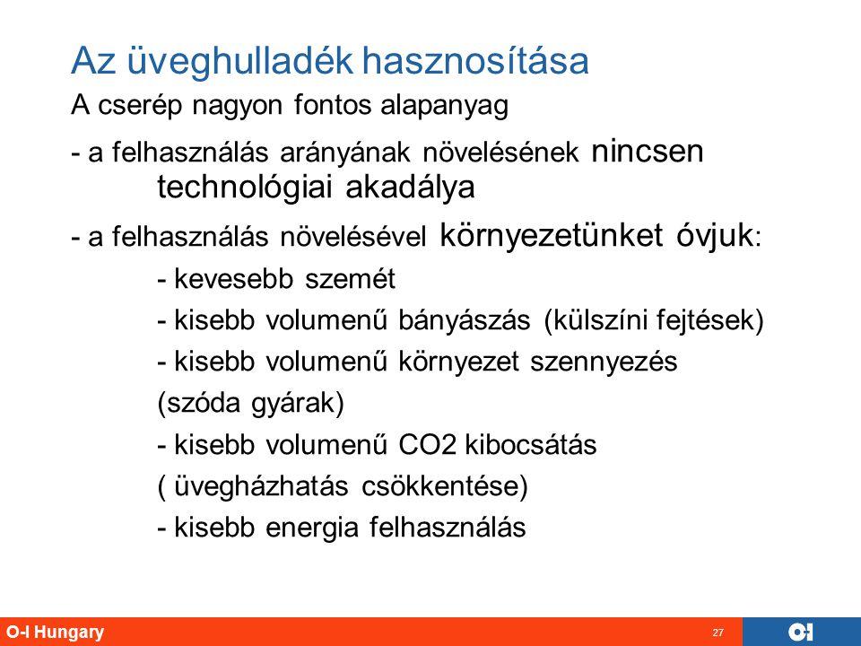 O-I Hungary 27 Az üveghulladék hasznosítása A cserép nagyon fontos alapanyag - a felhasználás arányának növelésének nincsen technológiai akadálya - a