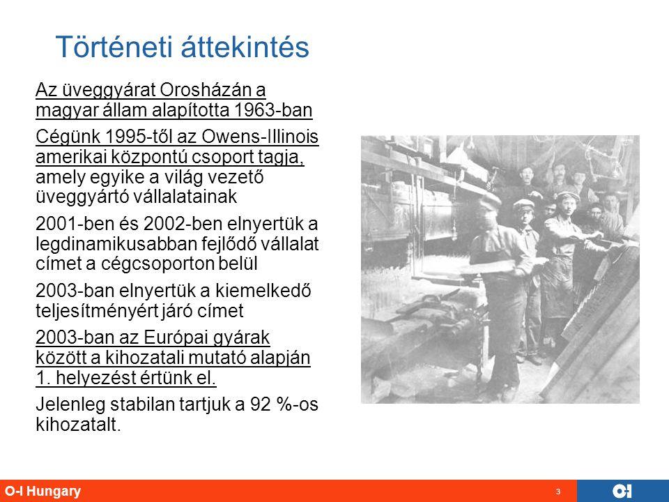 O-I Hungary 3 Történeti áttekintés Az üveggyárat Orosházán a magyar állam alapította 1963-ban Cégünk 1995-től az Owens-Illinois amerikai központú csop