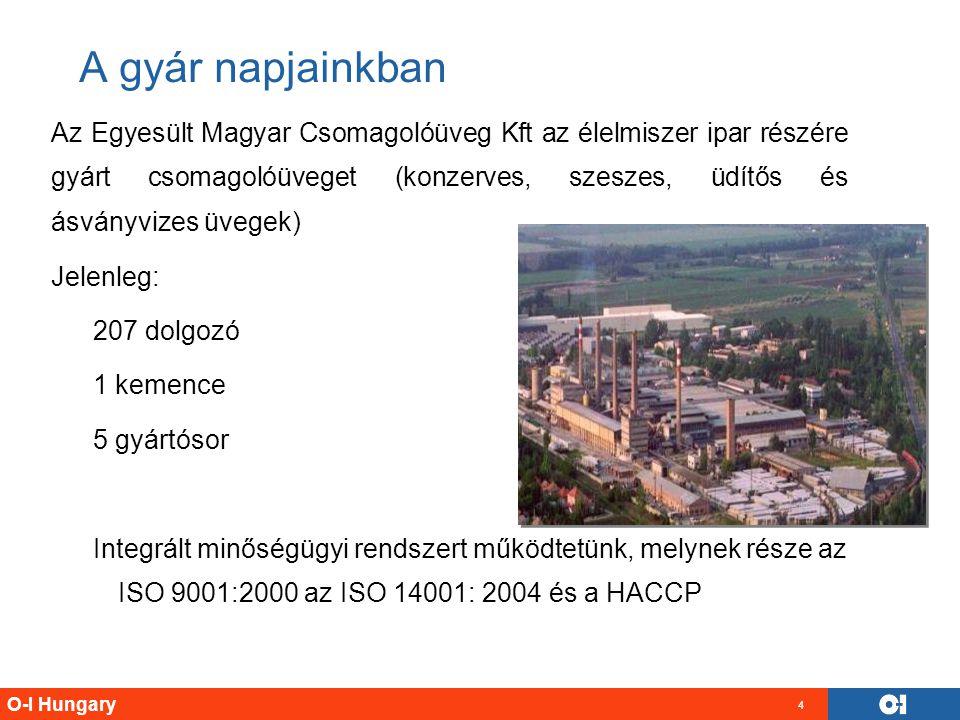O-I Hungary 4 A gyár napjainkban Az Egyesült Magyar Csomagolóüveg Kft az élelmiszer ipar részére gyárt csomagolóüveget (konzerves, szeszes, üdítős és