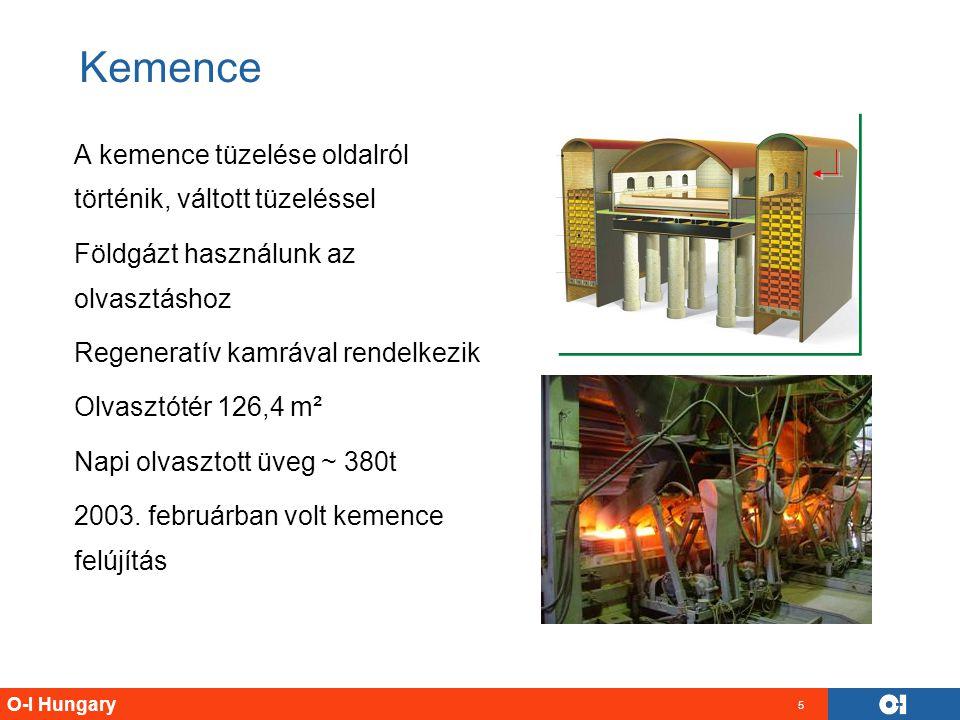 O-I Hungary 5 Kemence A kemence tüzelése oldalról történik, váltott tüzeléssel Földgázt használunk az olvasztáshoz Regeneratív kamrával rendelkezik Ol