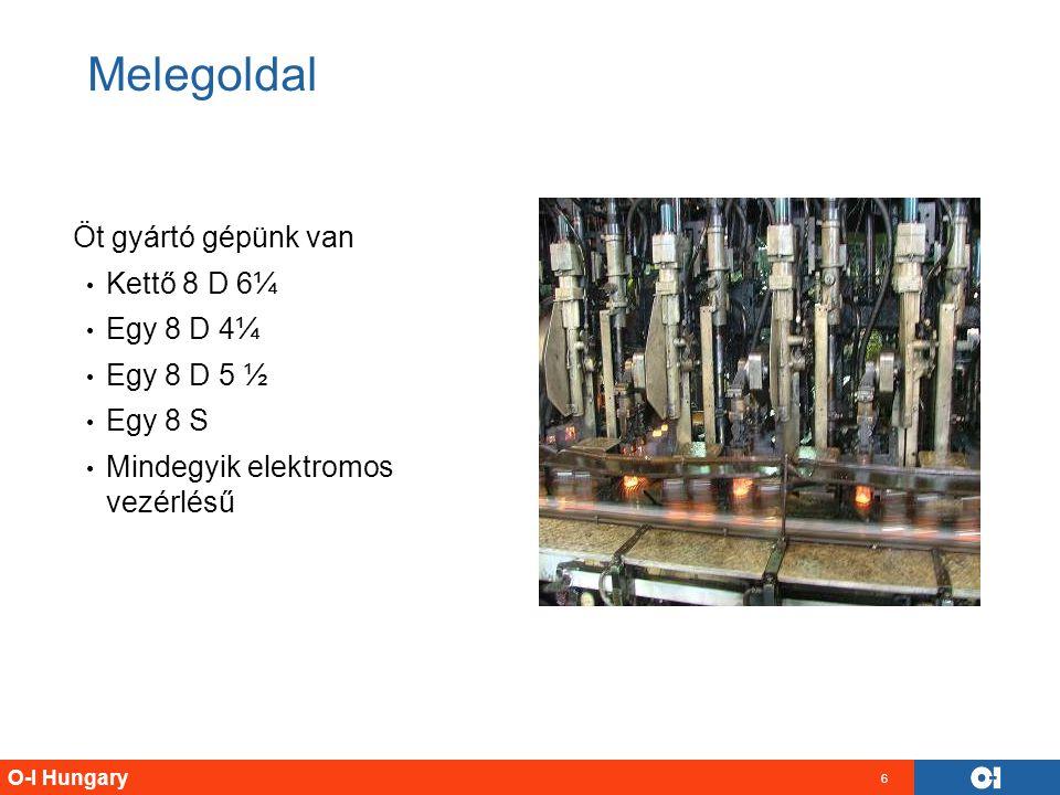 O-I Hungary 6 Melegoldal Öt gyártó gépünk van Kettő 8 D 6¼ Egy 8 D 4¼ Egy 8 D 5 ½ Egy 8 S Mindegyik elektromos vezérlésű