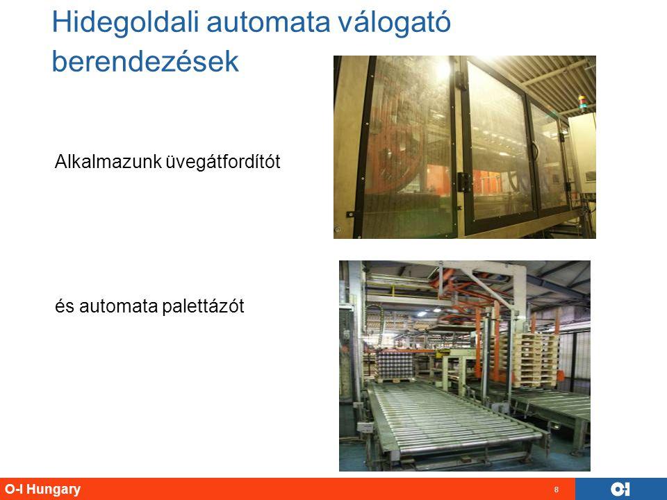O-I Hungary 8 Alkalmazunk üvegátfordítót és automata palettázót Hidegoldali automata válogató berendezések