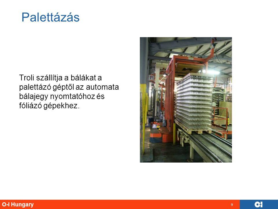 O-I Hungary 9 Troli szállítja a bálákat a palettázó géptől az automata bálajegy nyomtatóhoz és fóliázó gépekhez. Palettázás