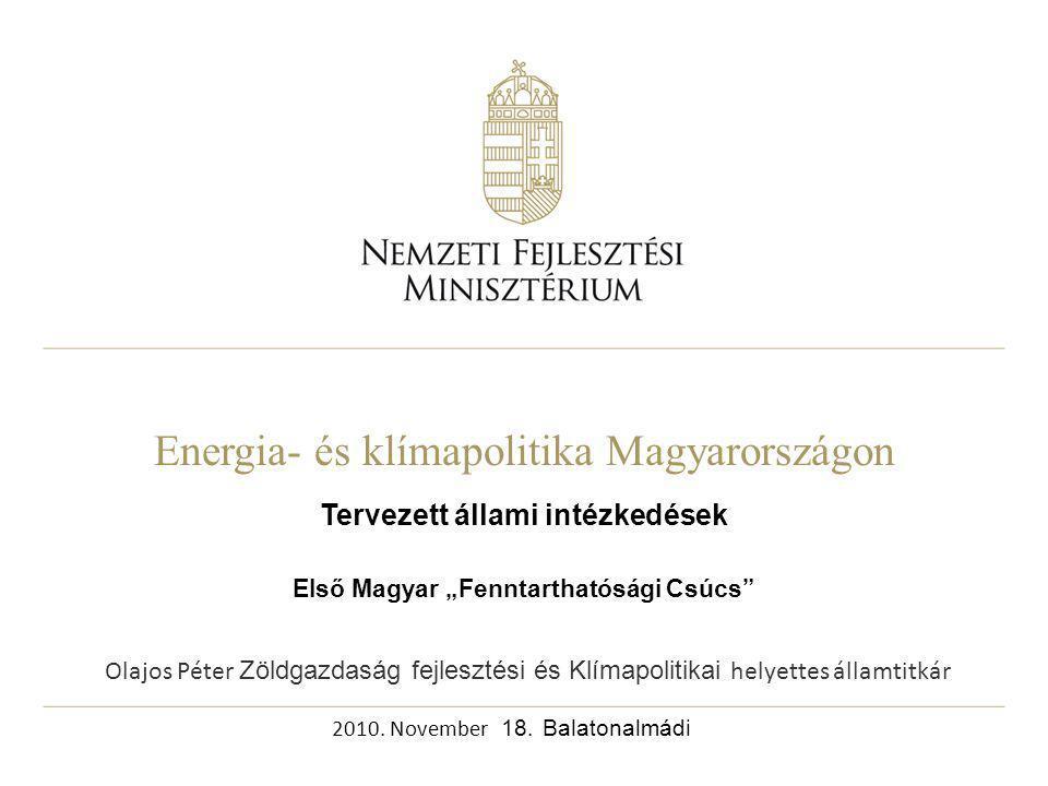 """Energia- és klímapolitika Magyarországon Tervezett állami intézkedések Első Magyar """"Fenntarthatósági Csúcs 2010."""