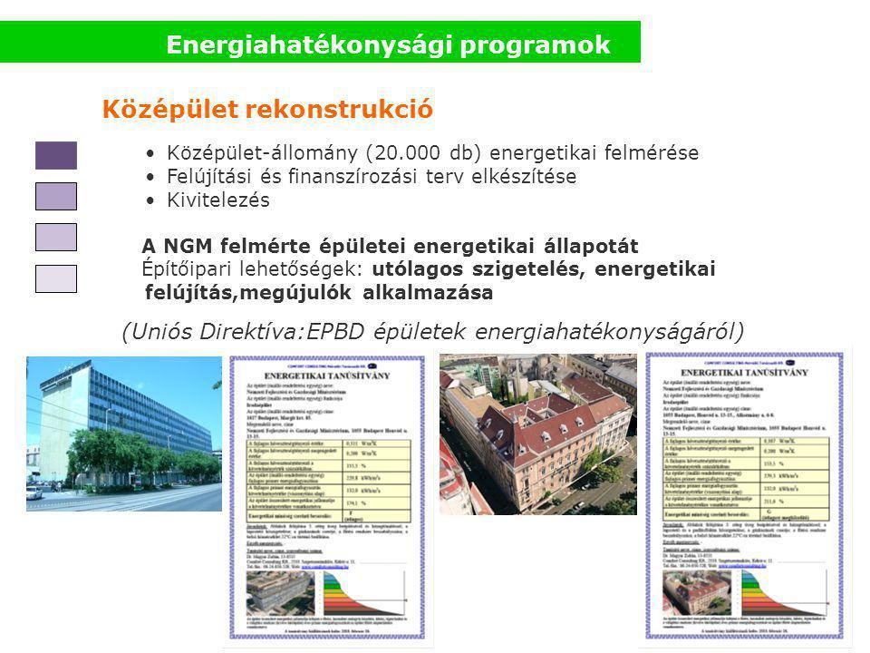 Energiahatékonysági programok Középület rekonstrukció Középület-állomány (20.000 db) energetikai felmérése Felújítási és finanszírozási terv elkészítése Kivitelezés A NGM felmérte épületei energetikai állapotát Építőipari lehetőségek: utólagos szigetelés, energetikai felújítás,megújulók alkalmazása (Uniós Direktíva:EPBD épületek energiahatékonyságáról)