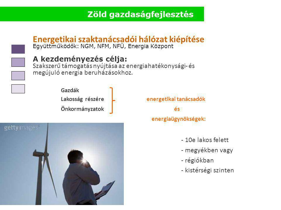 Energetikai szaktanácsadói hálózat kiépítése Együttműködők: NGM, NFM, NFÜ, Energia Központ A kezdeményezés célja: Szakszerű támogatás nyújtása az energiahatékonysági- és megújuló energia beruházásokhoz.
