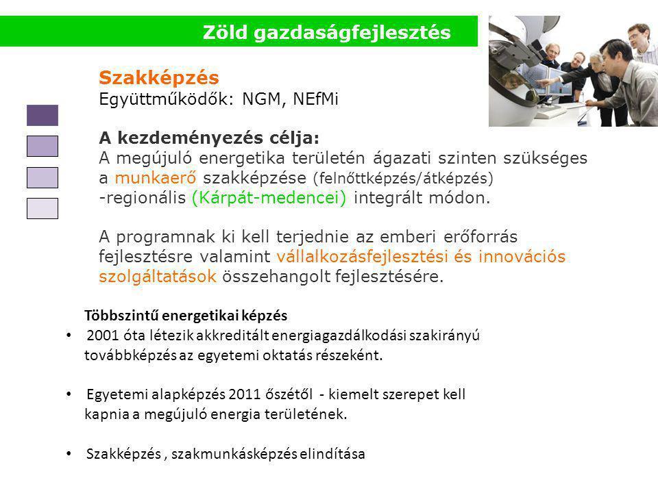 Szakképzés Együttműködők: NGM, NEfMi A kezdeményezés célja: A megújuló energetika területén ágazati szinten szükséges a munkaerő szakképzése (felnőttk