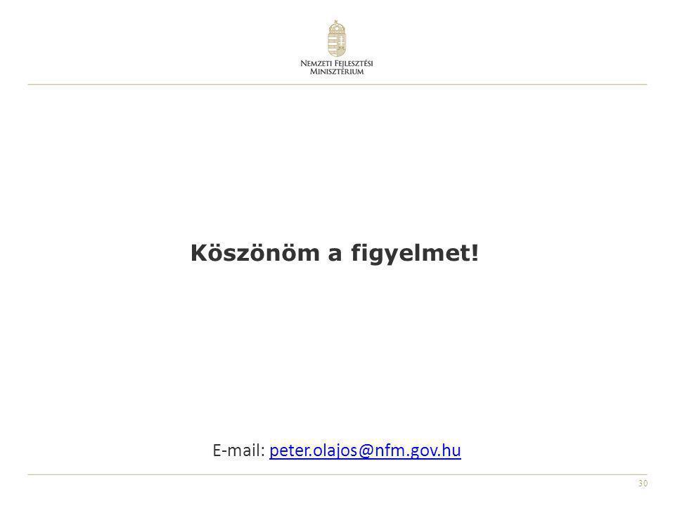 30 E-mail: peter.olajos@nfm.gov.hupeter.olajos@nfm.gov.hu Köszönöm a figyelmet!