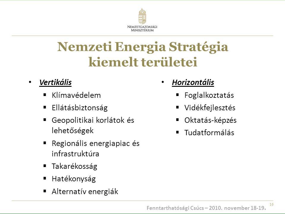 16 Nemzeti Energia Stratégia kiemelt területei Vertikális  Klímavédelem  Ellátásbiztonság  Geopolitikai korlátok és lehetőségek  Regionális energi