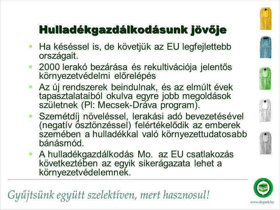 Hulladékgazdálkodásunk jövője Hulladékgazdálkodásunk jövője   Ha késéssel is, de követjük az EU legfejlettebb országait.