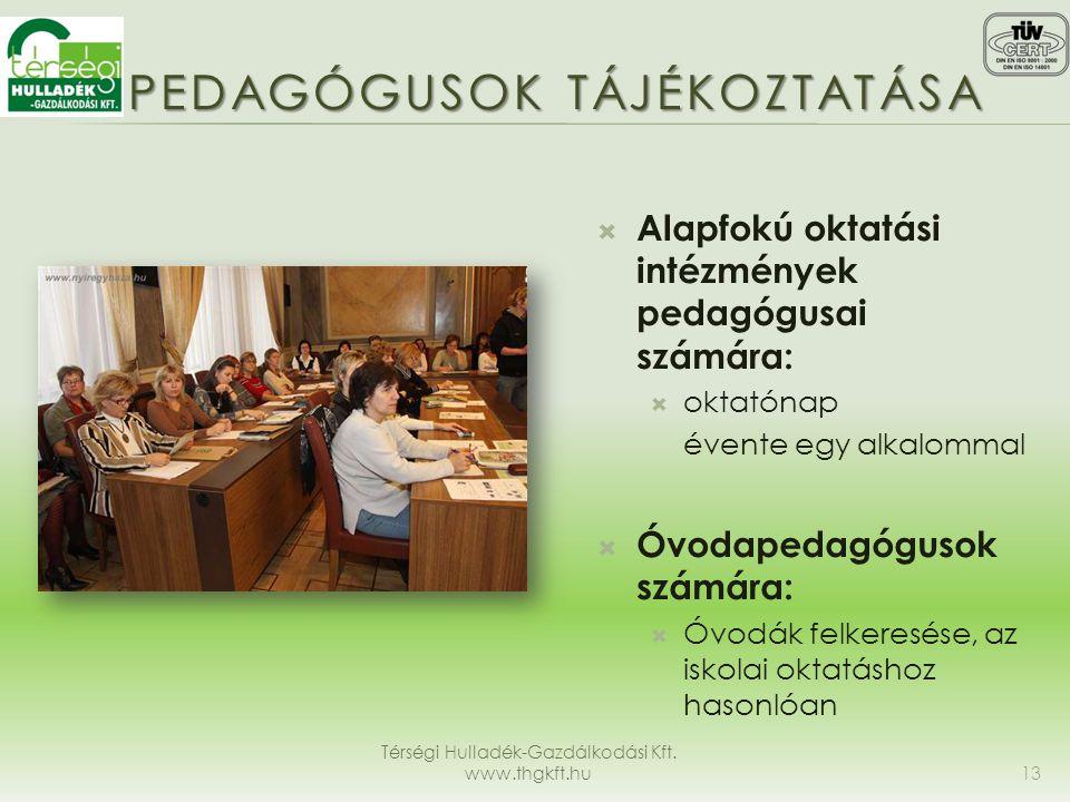 PEDAGÓGUSOK TÁJÉKOZTATÁSA Térségi Hulladék-Gazdálkodási Kft. www.thgkft.hu 13  Alapfokú oktatási intézmények pedagógusai számára:  oktatónap évente