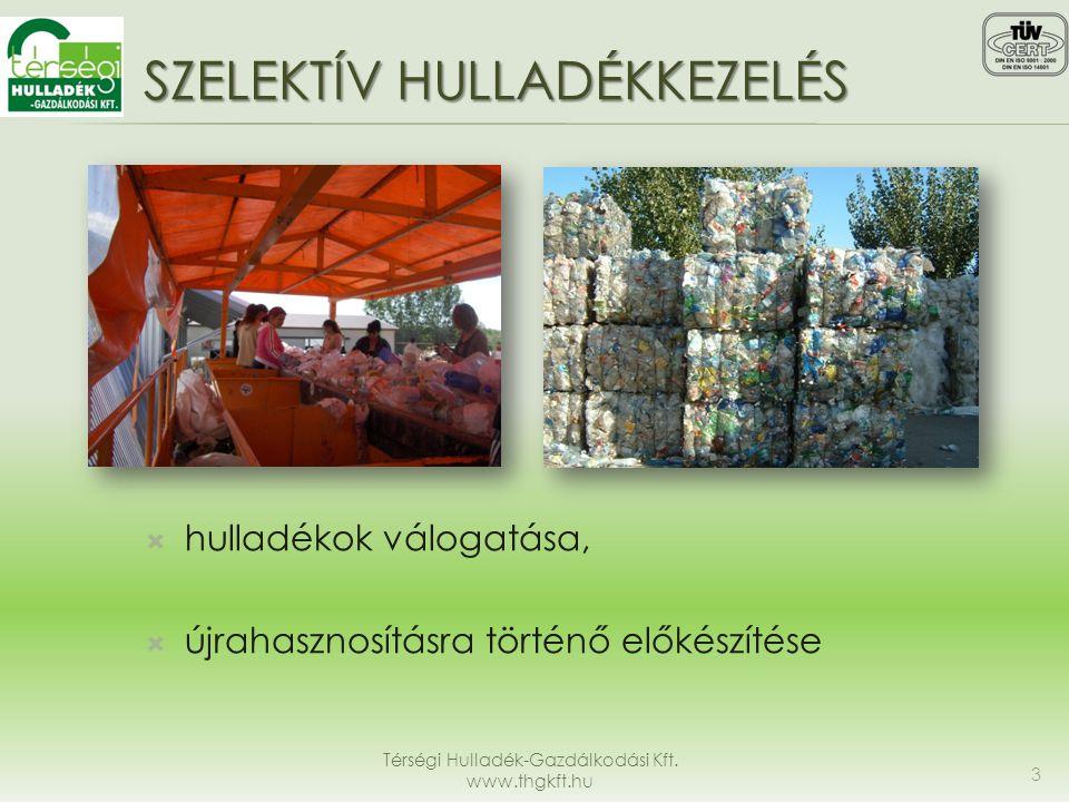 SZELEKTÍV HULLADÉKKEZELÉS  hulladékok válogatása,  újrahasznosításra történő előkészítése Térségi Hulladék-Gazdálkodási Kft. www.thgkft.hu 3