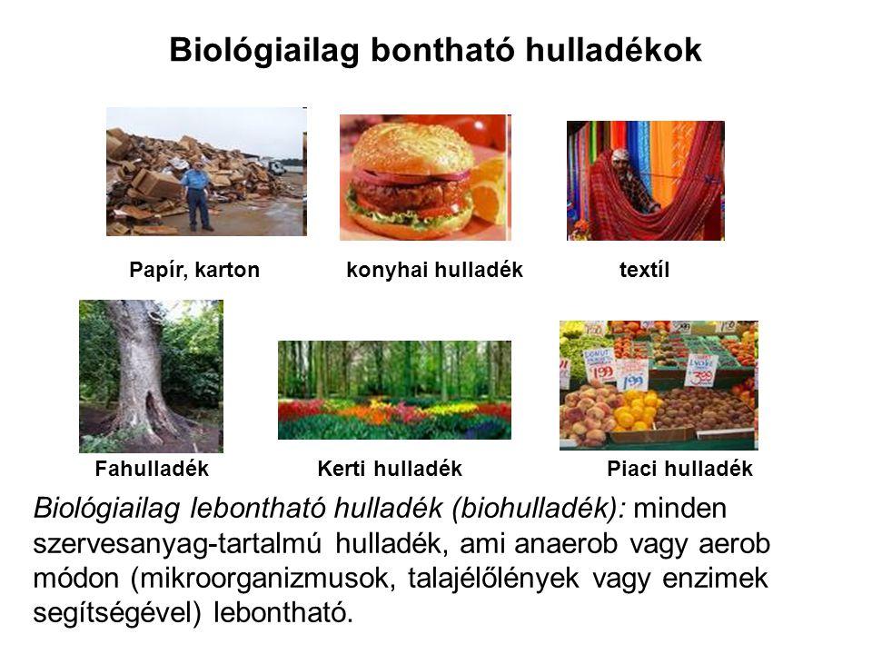 Biológiailag bontható hulladékok Papír, karton konyhai hulladék textíl Fahulladék Kerti hulladék Piaci hulladék Biológiailag lebontható hulladék (biohulladék): minden szervesanyag-tartalmú hulladék, ami anaerob vagy aerob módon (mikroorganizmusok, talajélőlények vagy enzimek segítségével) lebontható.