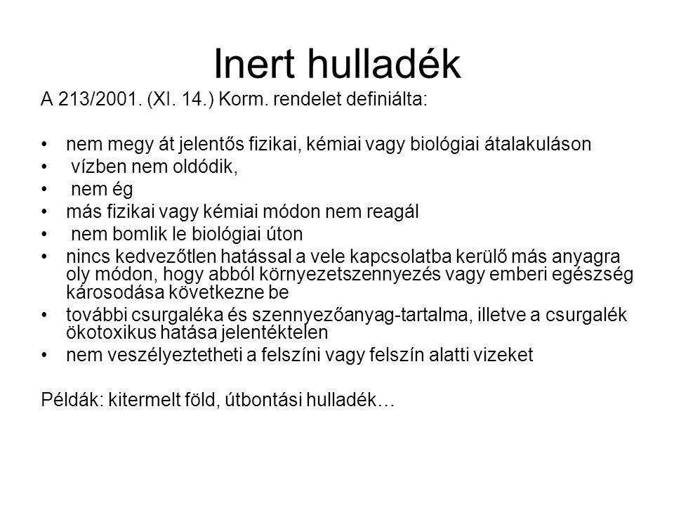 Inert hulladék A 213/2001.(XI. 14.) Korm.